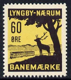 Cinderella - Denmark 60 ore Railway stamp for Lyngby-Naerum, unmounted mint