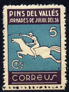 Cinderella - 1936 perf 5c label inscribed Pins Del Valles showing rider on horse unmounted mint