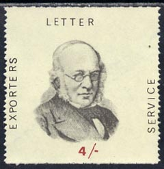 Cinderella - Great Britain 1971 4s label inscribed 'Exporters Letter service' and showing portrait of Rowland Hill, unmounted mint
