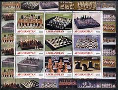 Afghanistan 2000 Chess sets #2 from around the World perf sheetlet containing 9 values unmounted mint