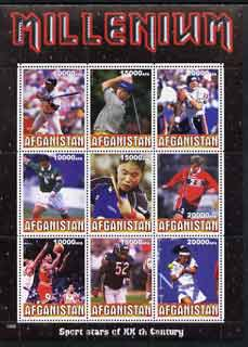Afghanistan 1999 Millennium - Sport Stars of the 20th Century perf sheetlet containing 9 values unmounted mint