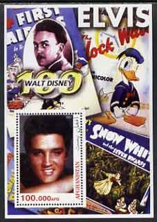 Afghanistan 2003 Walt Disney & Elvis #1 perf souvenir sheet unmounted mint