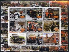 Afghanistan 2000 Early Cars #1 (Mercedes & Rolls) perf sheetlet containing set of 9 values unmounted mint