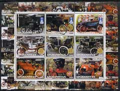 Afghanistan 2000 Early Cars #2 (De Dion & Ford) perf sheetlet containing set of 9 values unmounted mint