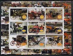 Afghanistan 2000 Early Cars #3 (Benz & Wolseley) perf sheetlet containing set of 9 values unmounted mint
