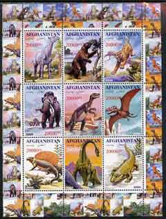 Afghanistan 2000 Pre-historic Animals #2 perf sheetlet containing set of 9 values unmounted mint