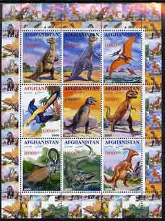 Afghanistan 2000 Pre-historic Animals #3 perf sheetlet containing set of 9 values unmounted mint