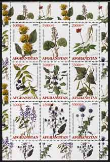Afghanistan 2000 Medicinal Plants perf sheetlet containing set of 9 values unmounted mint