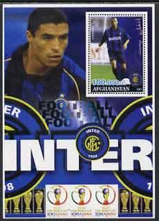 Afghanistan 2001 Football #3 (Inter Milan - Cordoba) perf souvenir sheet unmounted mint