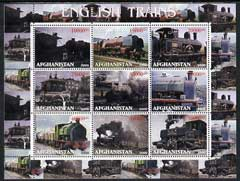Afghanistan 2000 English Trains perf sheetlet containing set of 9 values unmounted mint