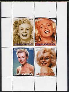 Afghanistan 2000 Marilyn Monroe perf sheetlet containing set of 4 values unmounted mint