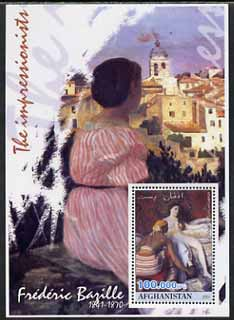 Afghanistan 2001 The Impressionists - Frederic Bazille #2 perf souvenir sheet unmounted mint, stamps on arts, stamps on bazille