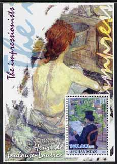 Afghanistan 2001 The Impressionists - Toulouse-Lautrec #1 perf souvenir sheet unmounted mint