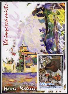 Afghanistan 2001 The Impressionists - Henri Matisse #1 perf souvenir sheet unmounted mint