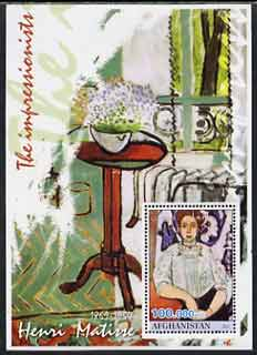 Afghanistan 2001 The Impressionists - Henri Matisse #2 perf souvenir sheet unmounted mint