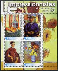 Ivory Coast 2003 Art of the Impressionists - Paintings by Van Gogh perf sheetlet containing 4 values unmounted mint