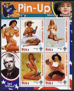 Guinea - Conakry 2003 Pin-up Art of Ted Withers featuring Marilyn Monroe perf sheetlet containing 4 values (each with Scout logo) unmounted mint