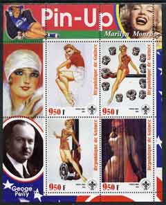 Guinea - Conakry 2003 Pin-up Art of George Petty featuring Marilyn Monroe perf sheetlet containing 4 values (each with Scout logo) unmounted mint