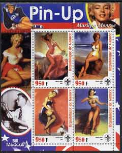 Guinea - Conakry 2003 Pin-up Art of Bill Medcalf featuring Marilyn Monroe perf sheetlet containing 4 values (each with Scout logo) unmounted mint