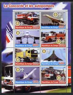 Congo 2004 Concorde & Fire Trucks #2 perf sheetlet containing 8 values (each with Rotary & Scout Logos) unmounted mint