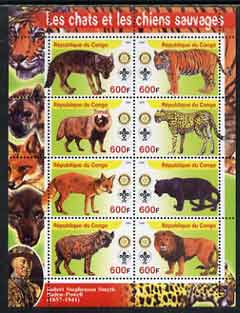 Congo 2004 Wild Cats & Dogs perf sheetlet containing 8 values (each with Rotary & Scout Logos) unmounted mint