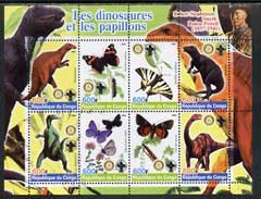 Congo 2004 Dinosaurs & Butterflies perf sheetlet containing 8 values (each with Rotary & Scout Logos) unmounted mint