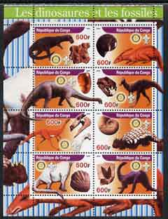 Congo 2004 Dinosaurs & Fossils #2 perf sheetlet containing 8 values (each with Rotary & Scout Logos) unmounted mint