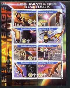 Congo 2004 Dinosaurs & Space perf sheetlet containing 8 values (each with Rotary & Scout Logos) unmounted mint