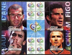 Comoro Islands 2004 Rael Madrid Football Stars (Raul, Zidane, Beckham & Figo) perf sheetlet containing 4 values plus 4 labels unmounted mint