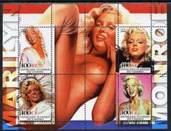 Comoro Islands 2004 Marilyn Monroe with Nude in background perf sheetlet containing 4 values plus 4 labels unmounted mint