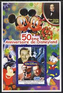Comoro Islands 2004 50th Anniversary of Disneyland featuring Hans Christian Andersen #2 perf souvenir sheet unmounted mint