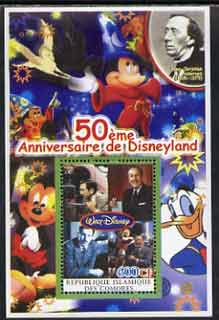 Comoro Islands 2004 50th Anniversary of Disneyland featuring Hans Christian Andersen #4 perf souvenir sheet unmounted mint