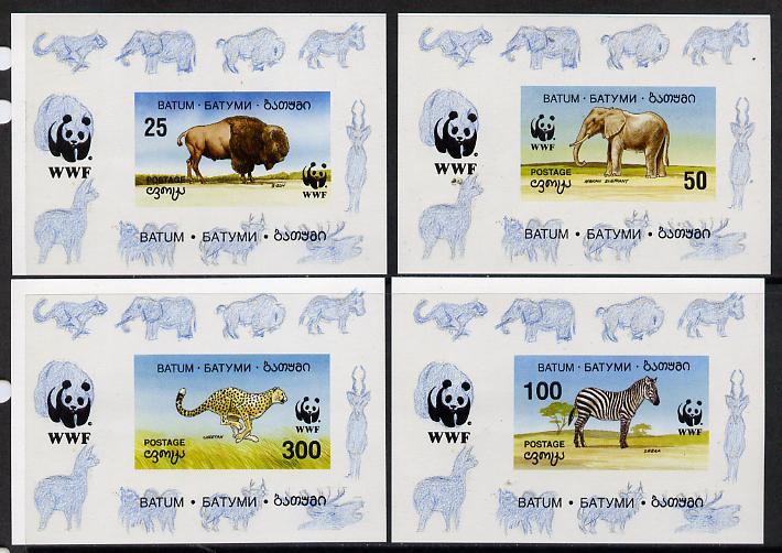 Batum 1994 WWF Wild Animals set of 4 imperf sheetlets unmounted mint