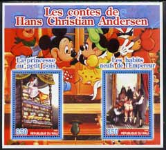 Mali 2005 The Tales of Hans Christian Andersen #1 (Disney Characters in background) perf sheetlet containing 2 values unmounted mint