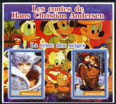 Mali 2005 The Tales of Hans Christian Andersen #3 (Disney Characters in background) perf sheetlet containing 2 values unmounted mint