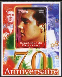 Cameroun 2005 70th Anniversary of Elvis Presley #1 perf souvenir sheet unmounted mint, stamps on personalities, stamps on elvis, stamps on cinema, stamps on music, stamps on pops