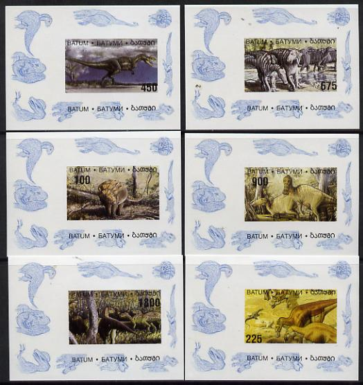 Batum 1995 Prehistoric Animals set of 6 imperf sheetlets unmounted mint