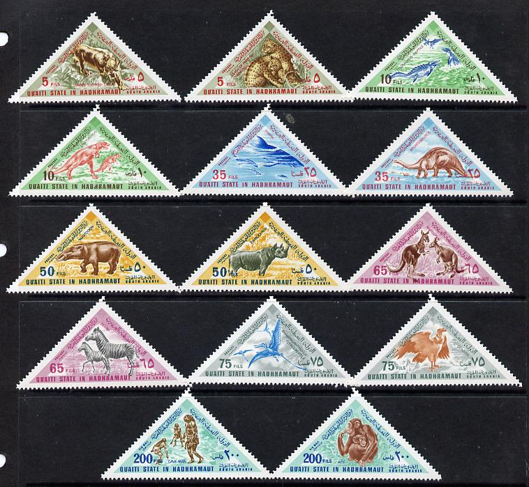 Aden - Qu'aiti 1968 Animals (Past & Present) triangular set of 14 unmounted mint (Mi 177-90A)