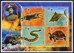 Djibouti 2005 Pre-historic Life #2 (Tortoise, Snake, Fish & Coral) perf sheetlet containing 4 values each with Scout Logo, unmounted mint