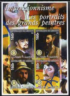 Djibouti 2005 Portraits of Impressionists #1 perf sheetlet containing 4 values each with Rotary Logo, unmounted mint