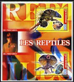 Mali 2005 Reptiles & Minerals #1 perf sheetlet containing 2 values with Baden Powell in background, unmounted mint