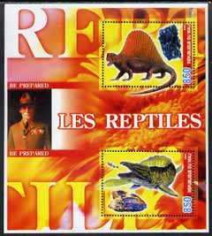 Mali 2005 Prehistoric Reptiles & Minerals perf sheetlet containing 2 values with Baden Powell in background, unmounted mint