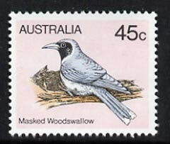 Australia 1980-82 Masked Wood Swallow 45c (P14) from 2nd Birds def set, unmounted mint, SG 737a*
