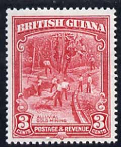 British Guiana 1934-51 KG5 Gold Mining 3c P12.5 x 13.5 unmounted mint SG 290a