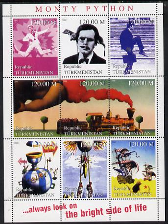 Turkmenistan 2000 Monty Python perf sheetlet containing 9 values unmounted mint. Note this item is privately produced and is offered purely on its thematic appeal
