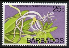 Barbados 1975-79 Eyelash Orchid 25c unmounted mint SG 518