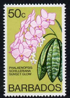 Barbados 1975-79 Sunset Glow Orchid 50c unmounted mint SG 520