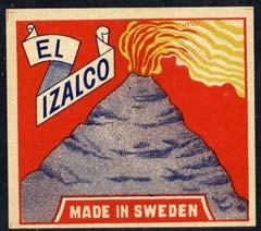 Match Box Labels - El Izalco (Volcano - red background) label in very fine unused condition (Swedish)