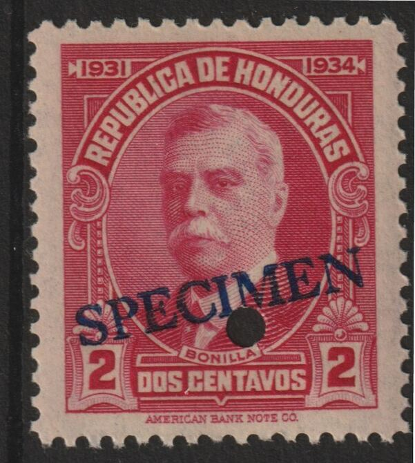 Honduras 1931 Bonilla 2c carmine optd SPECIMEN (20mm x 3mm) with security punch hole (ex ABN Co archives) unmounted mint as SG 320