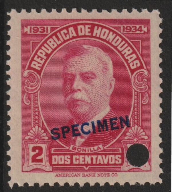 Honduras 1931 Bonilla 2c carmine optd SPECIMEN (13mm x 2mm) with security punch hole (ex ABN Co archives) unmounted mint as SG 320*